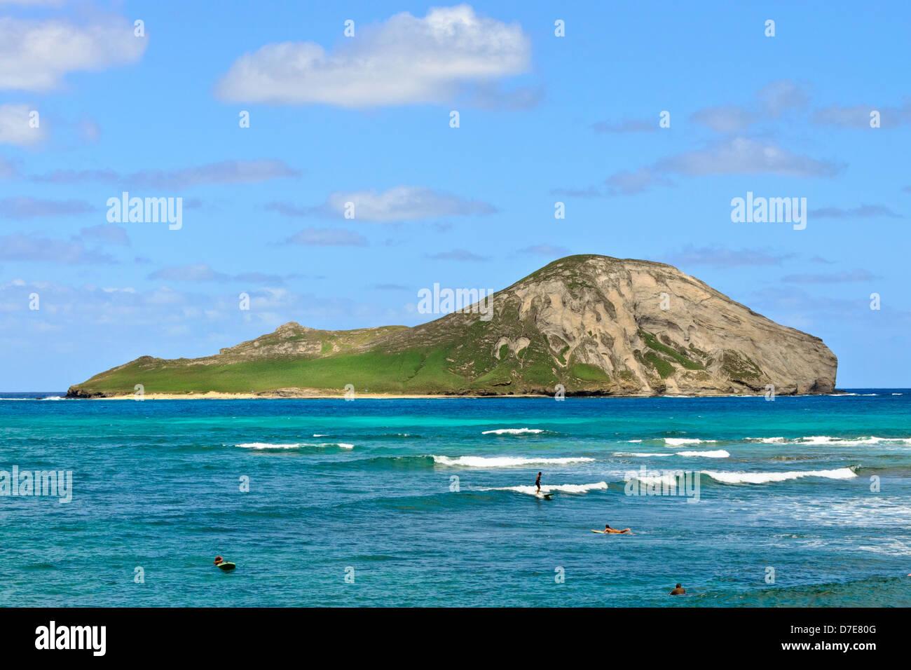 Rabbit island (Manana) visto desde el Makapuu Beach Foto de stock