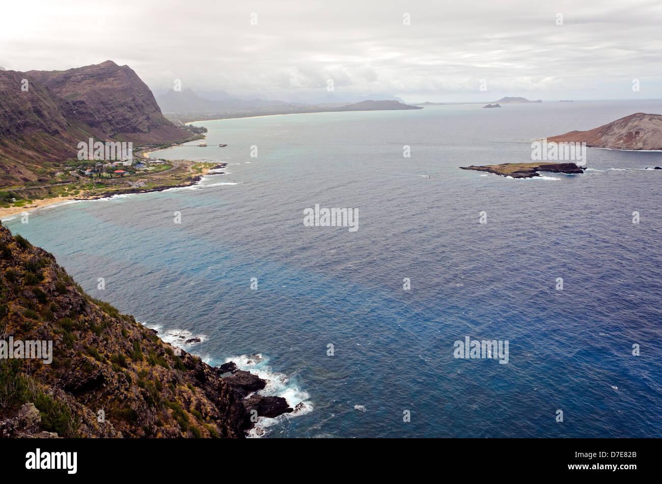 Vista desde el mirador de Makapuu, Oahu, Hawaii Foto de stock