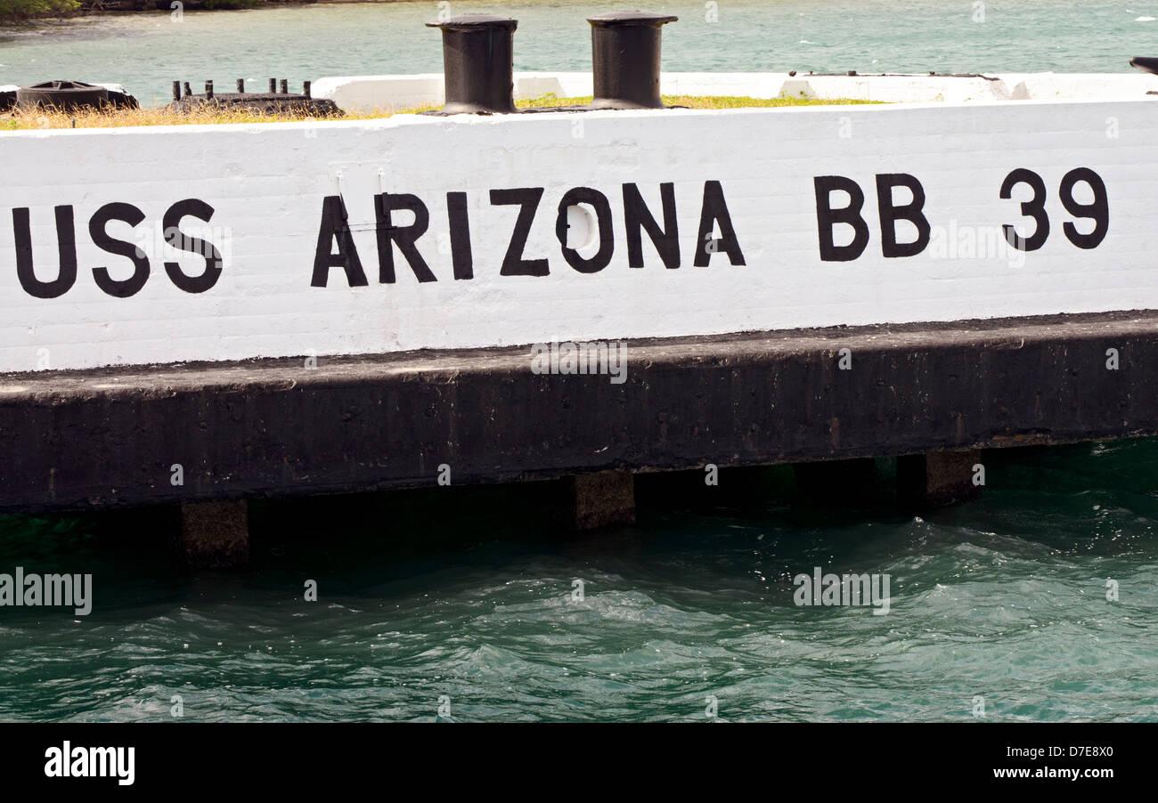 El muelle de atraque para el acorazado USS Arizona en Pearl Harbor Foto de stock