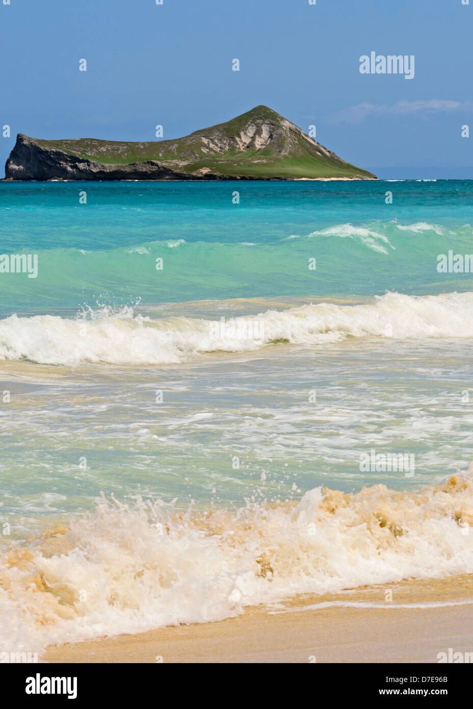 Rabbit island desde Waimanalo Beach Foto de stock