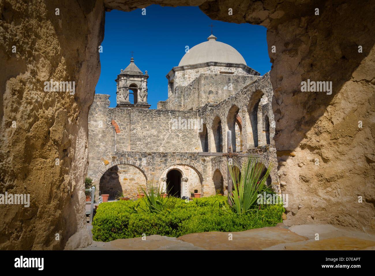 La misión de San José en San Antonio, Texas. Imagen De Stock