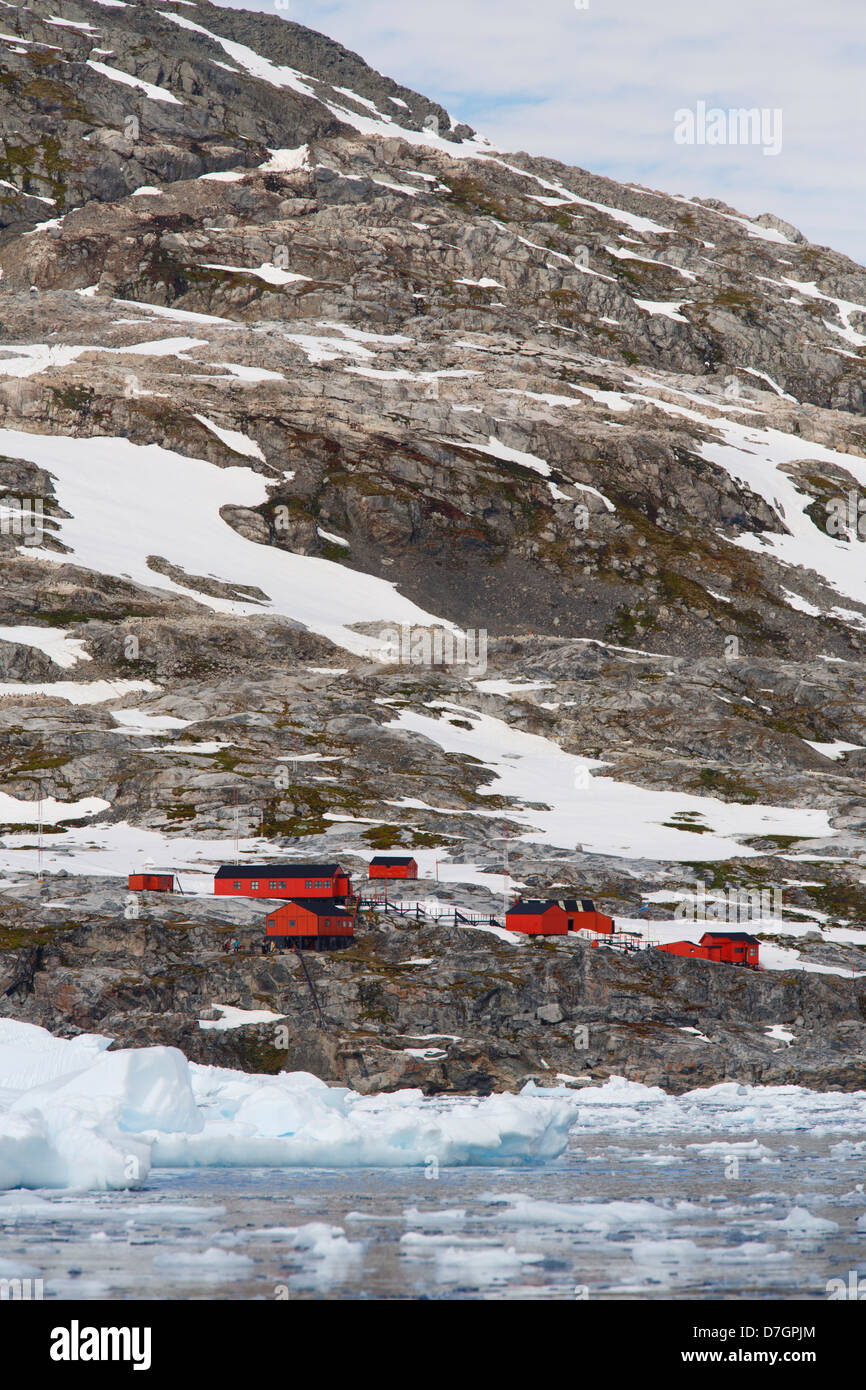 Base argentino Primavera, Cierva Cove, la Antártida Foto de stock