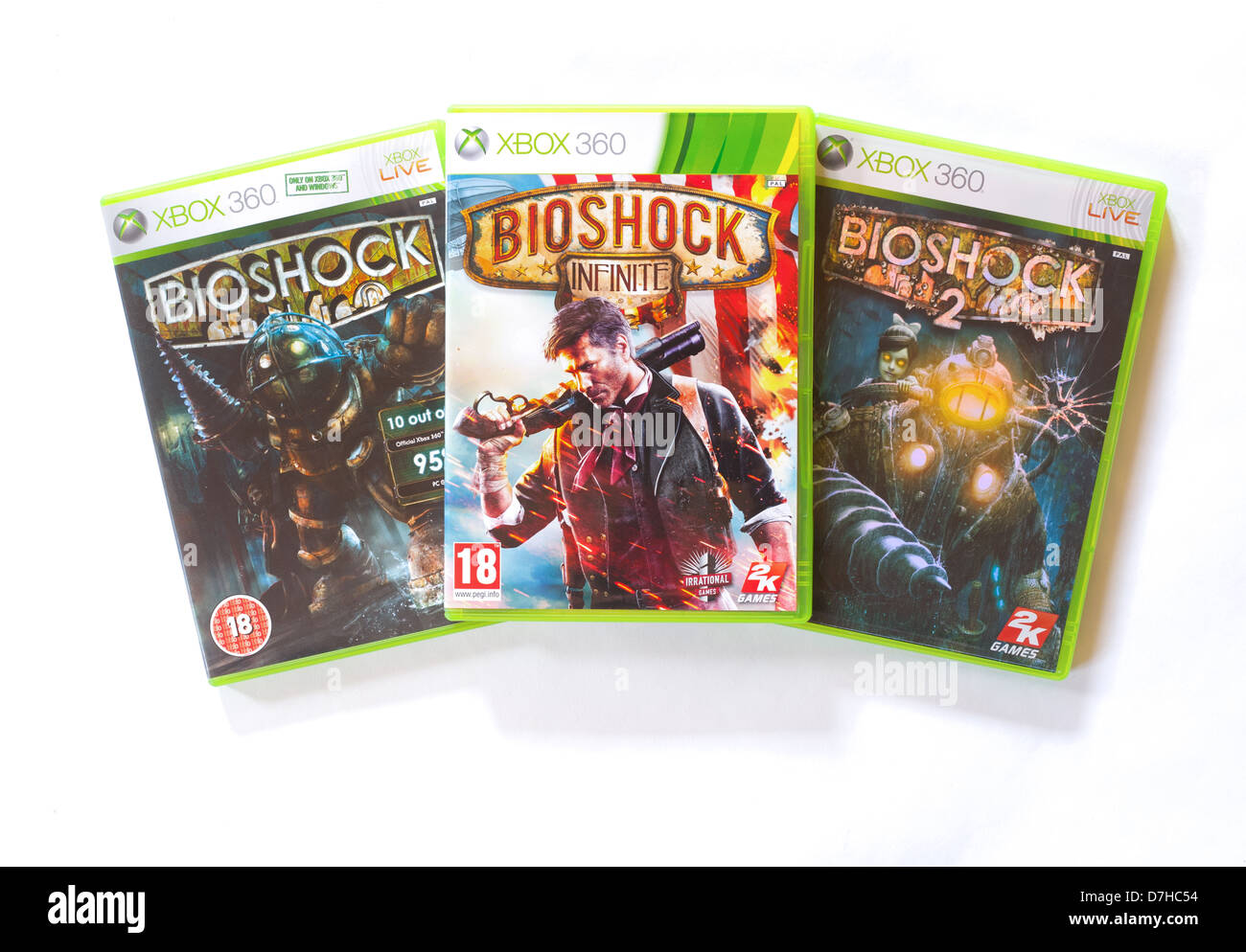 Bioshock juegos para Xbox 360. Bioshock 1, 2 e infinito. Desarrollado por Irrational Games y publicado por 2K Games. Foto de stock