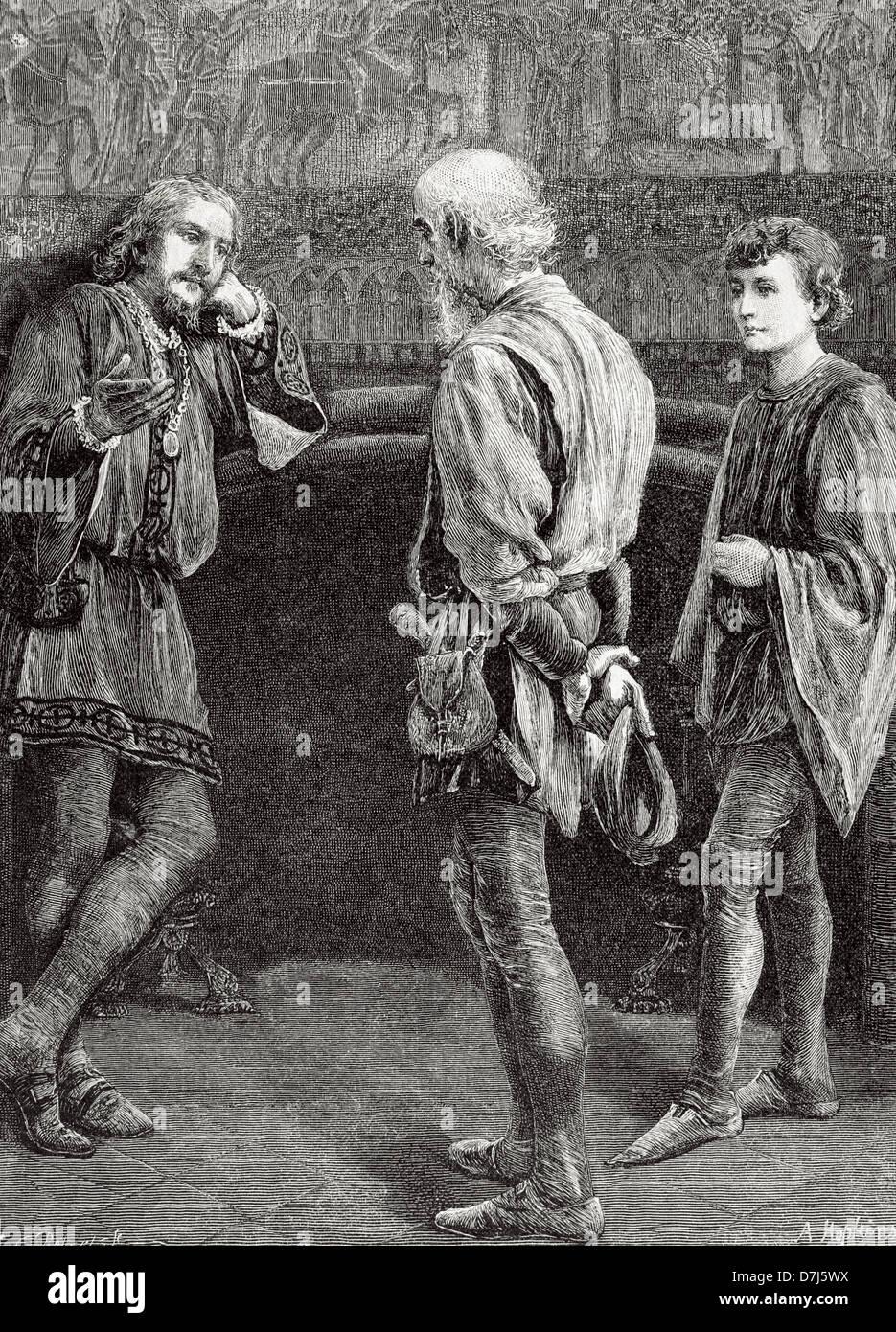 William Shakespeare (1564-1616). Escritor inglés. Hamlet y los cómicos. Acto II, escena II. Grabado. Foto de stock