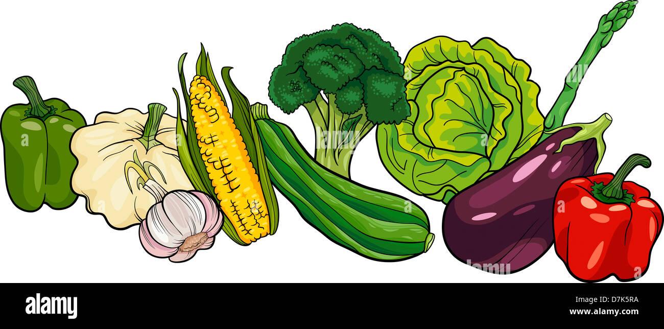 Ilustración De Dibujos Animados De Verduras Alimentos Objeto