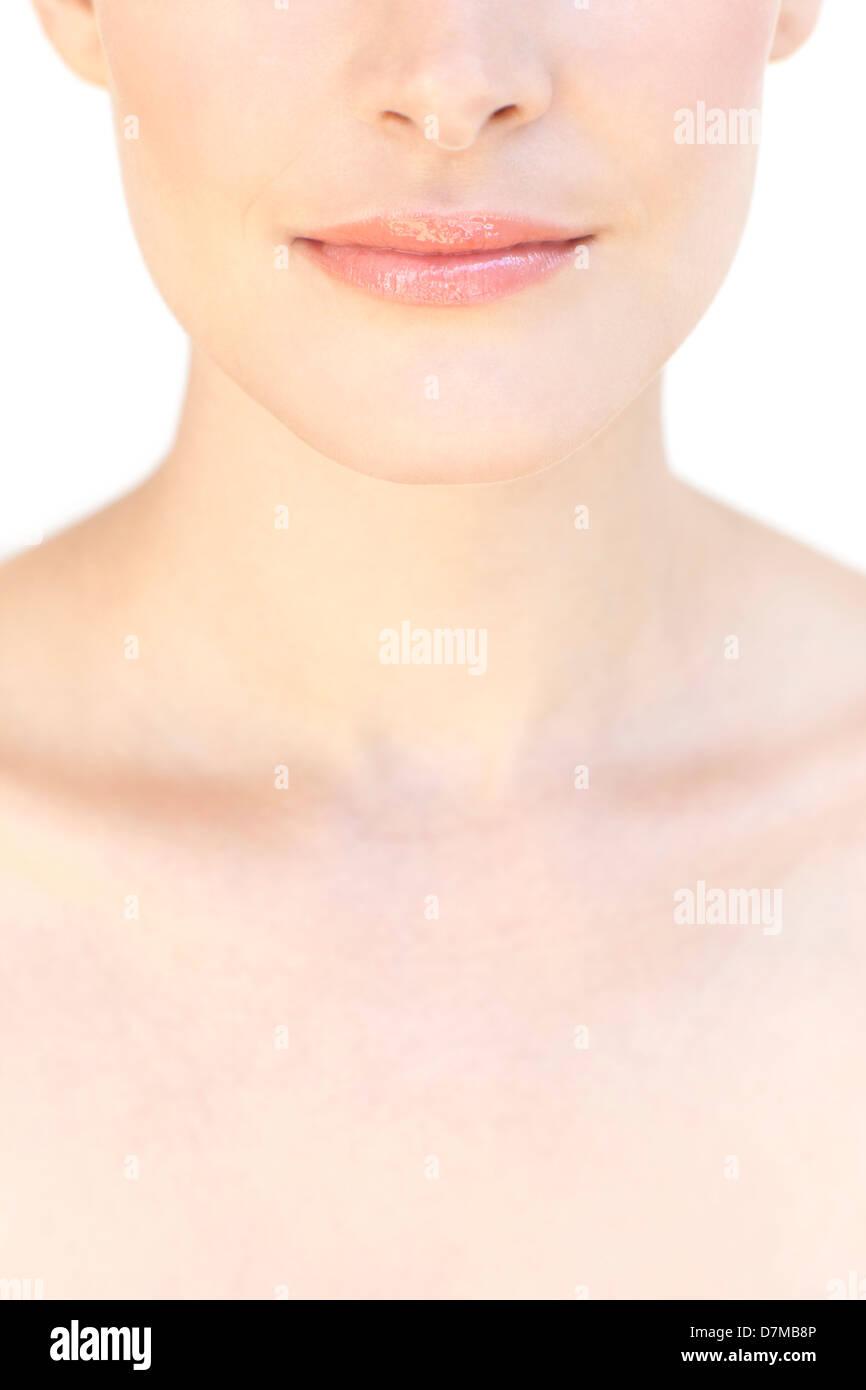 La parte superior del pecho de la mujer Imagen De Stock
