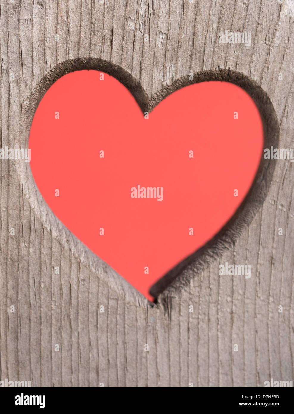 Corazón rojo en un corte de madera desgastada Imagen De Stock