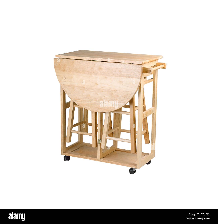 Mesa de madera y mueble plegable con taburetes para cocina pequeña ...