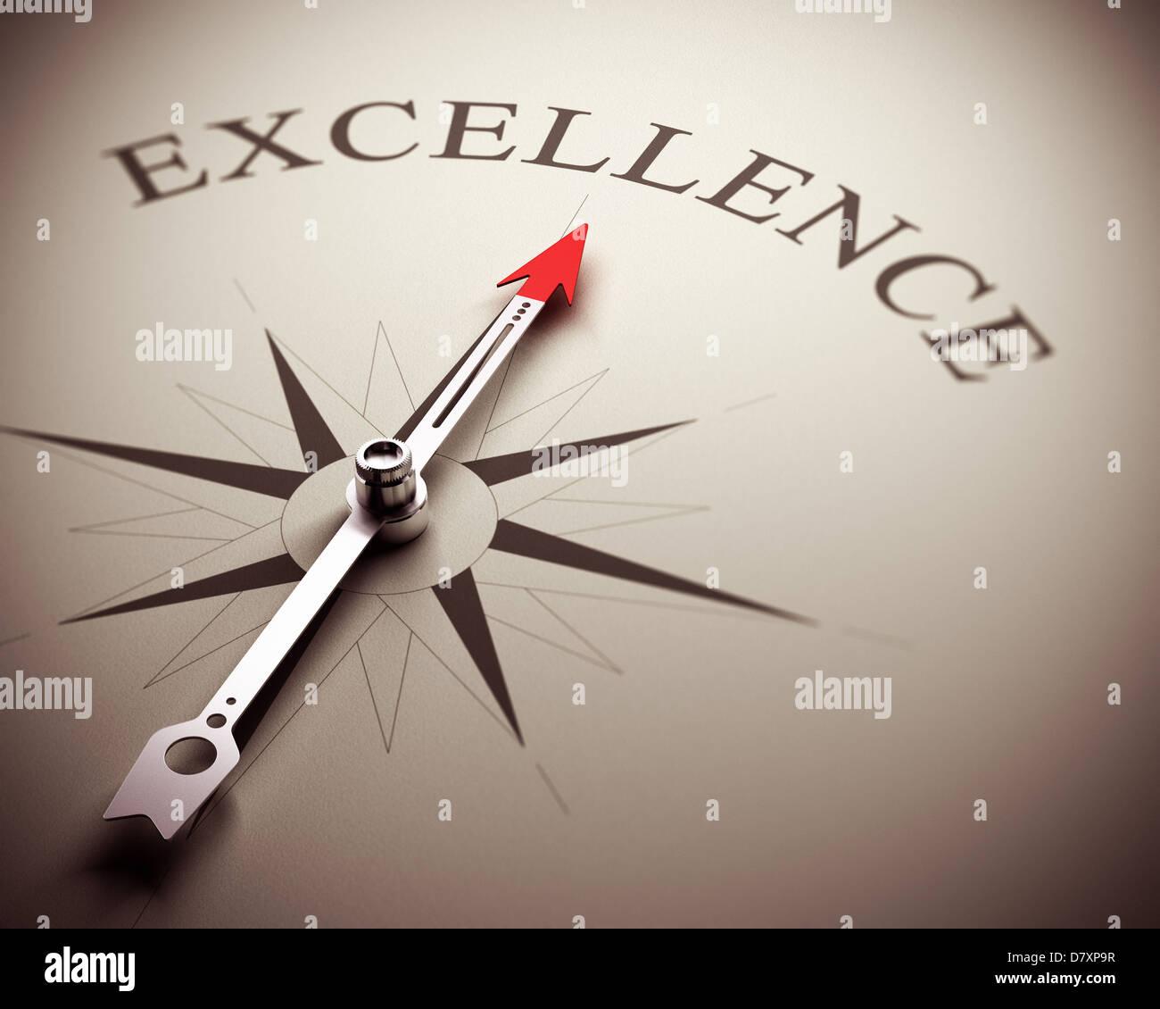 La aguja de la brújula apuntando la palabra excelencia, imagen adecuada para el concepto empresarial. 3D Render Imagen De Stock