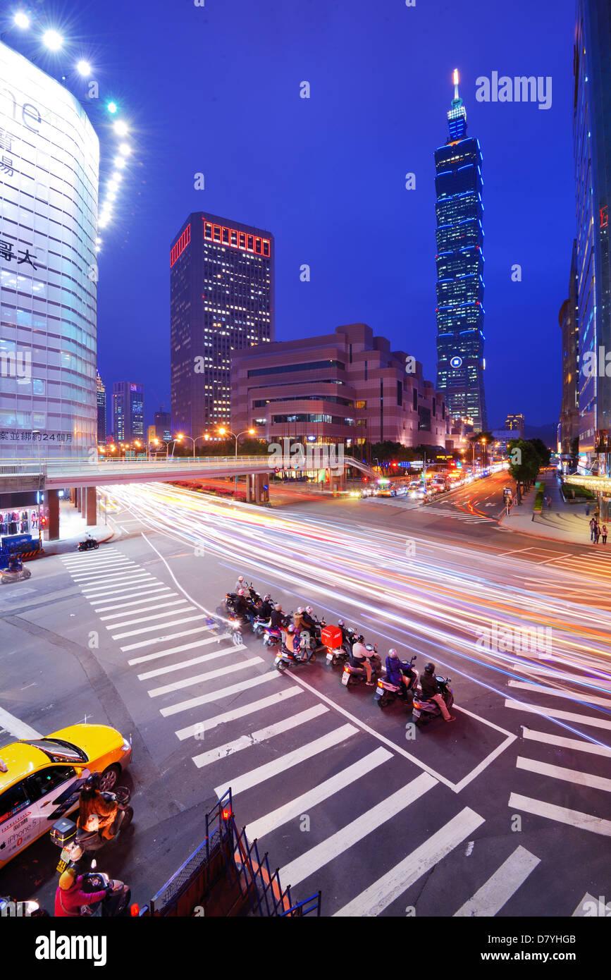 Distrito de Xinyi Taipei, Taiwán. Imagen De Stock