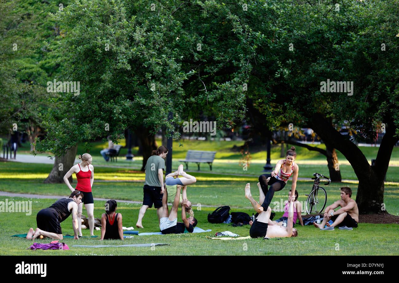 Clase de yoga, Boston Public Garden Imagen De Stock