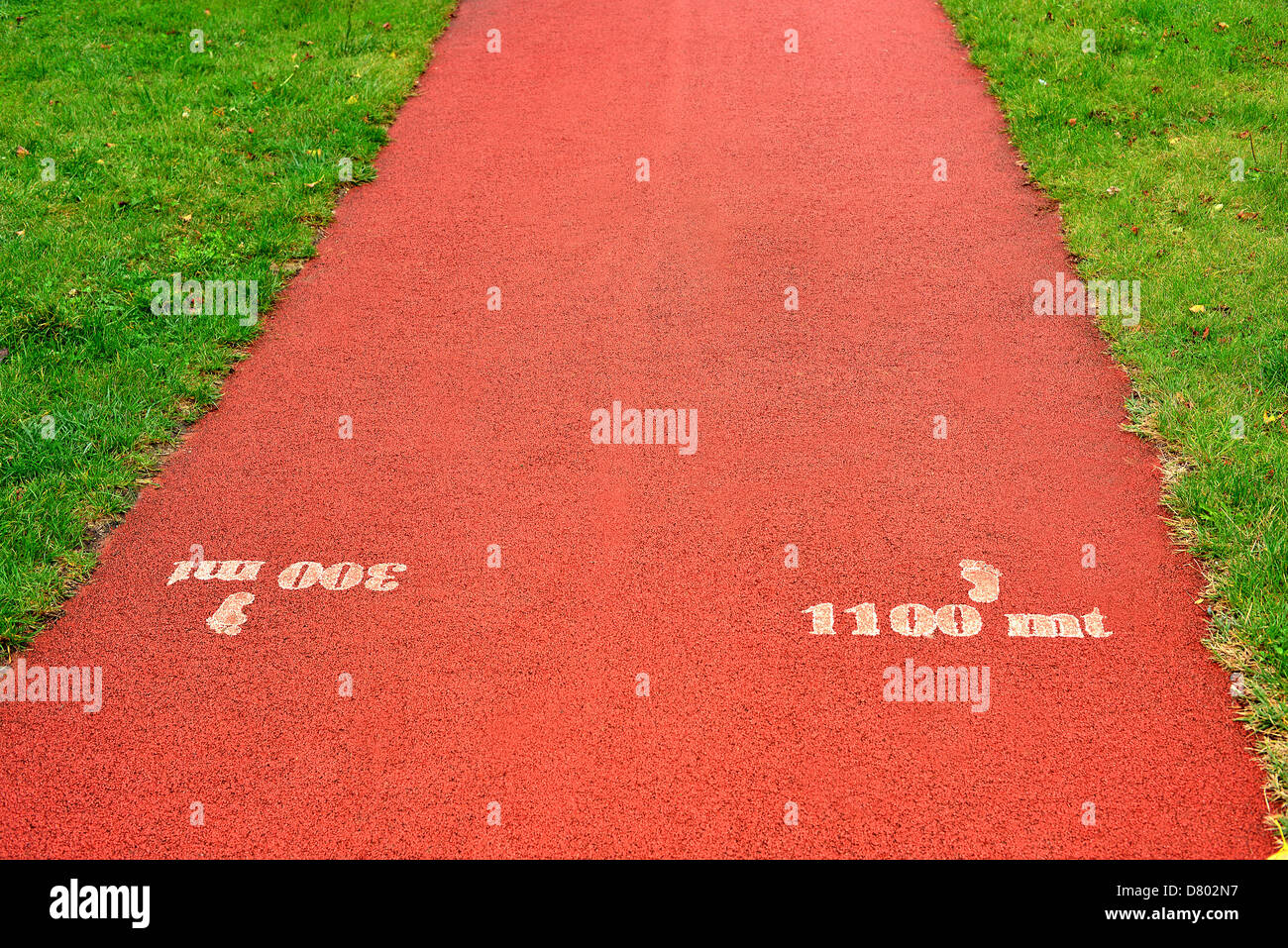 Pista de Atletismo cubierta de goma de textura para el fondo Imagen De Stock