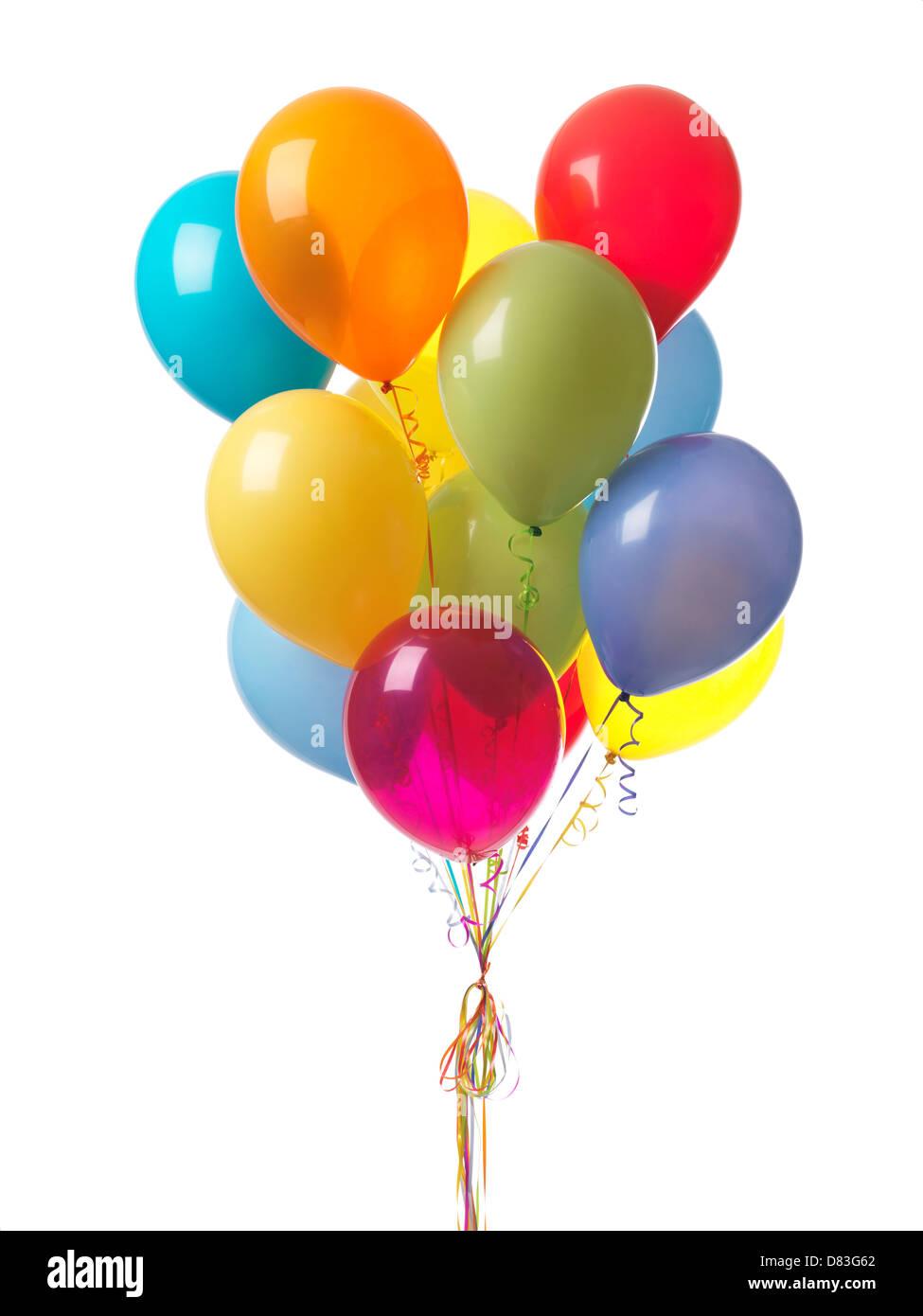Coloridos globos de aire aislado sobre fondo blanco. Imagen De Stock