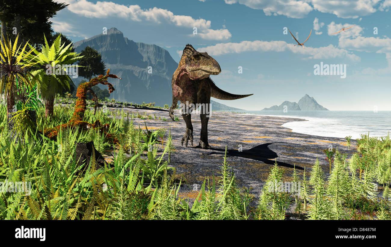 Un Acrocanthosaurus deambula un temprano Cretácico de América del Norte en las costas de la mediados de Imagen De Stock