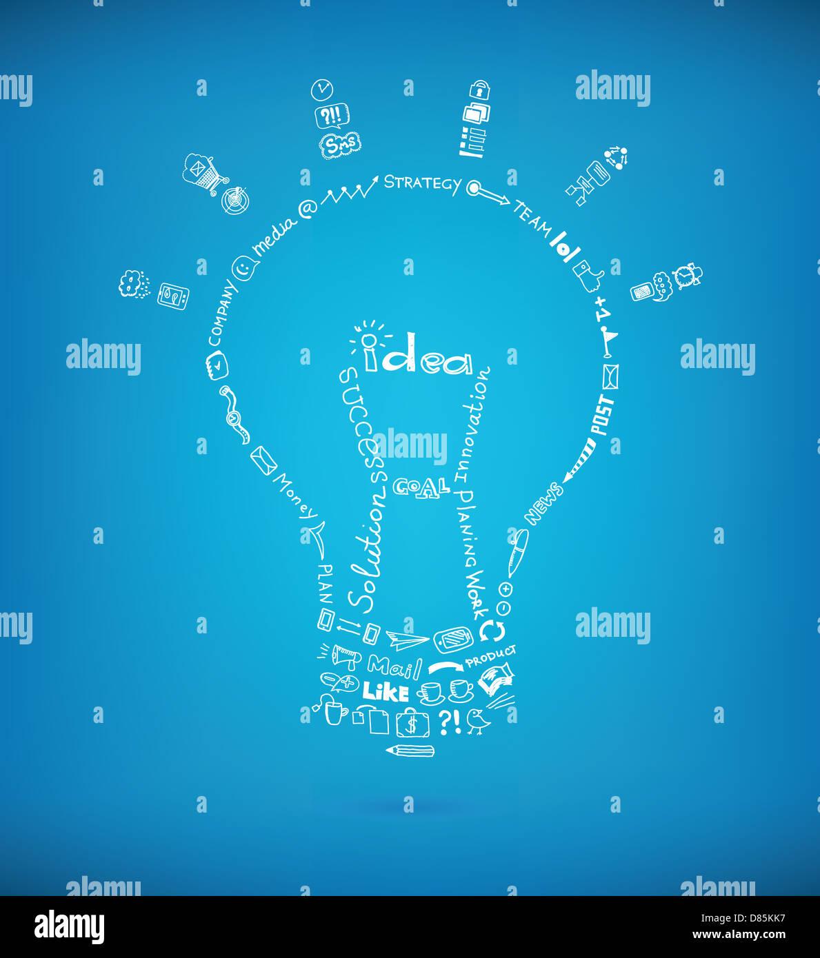 Bombilla de luz vectoriales creados por muchos negocios dibujados a mano croquis y elementos de diseño garabatos Imagen De Stock