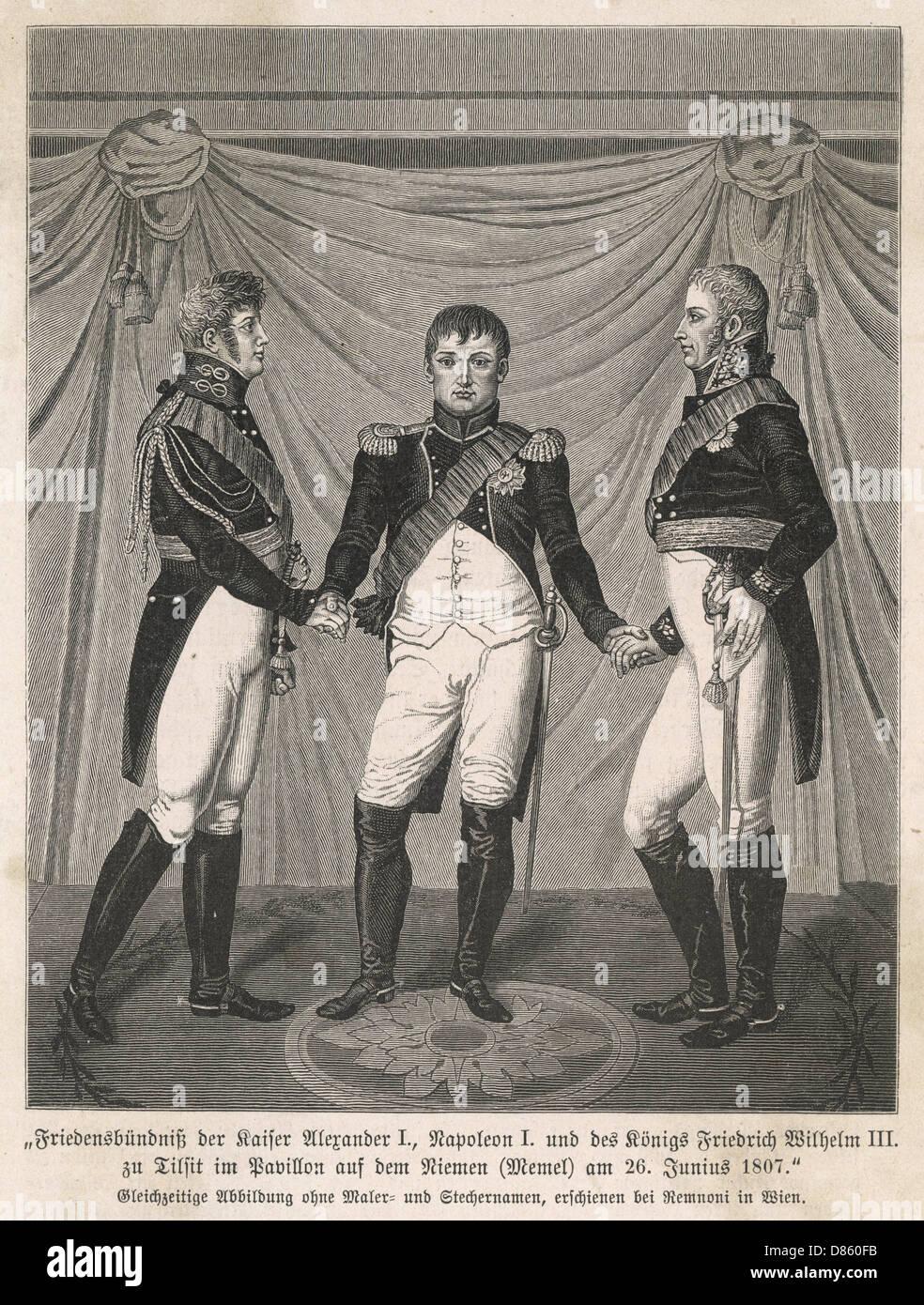 Reunión de tres líderes en Tilsit Guerras Napoleónicas Foto de stock