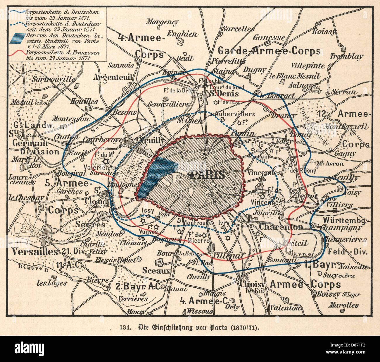 Mapa del sitio de París 1870 Foto de stock