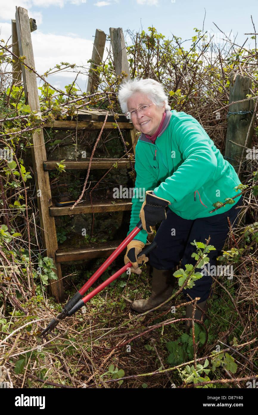 Activa jubilada jubilado pensionado Ramblers sendero cooperante borrar un país camino y escalera stile bloqueado Imagen De Stock