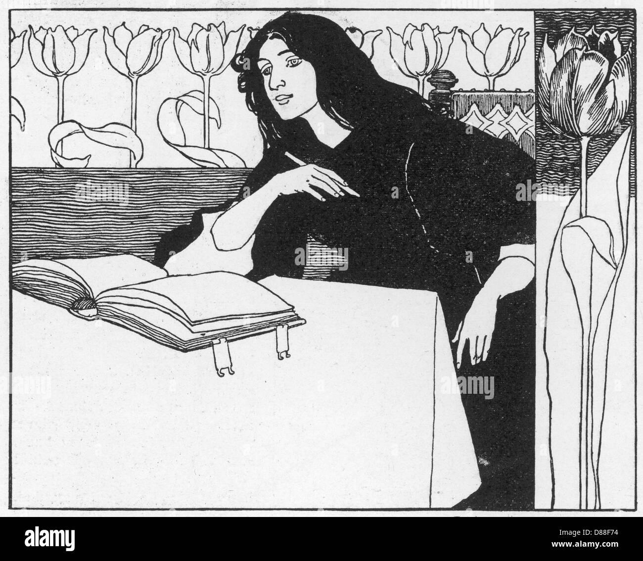 Mujer Escrito en B+W Imagen De Stock
