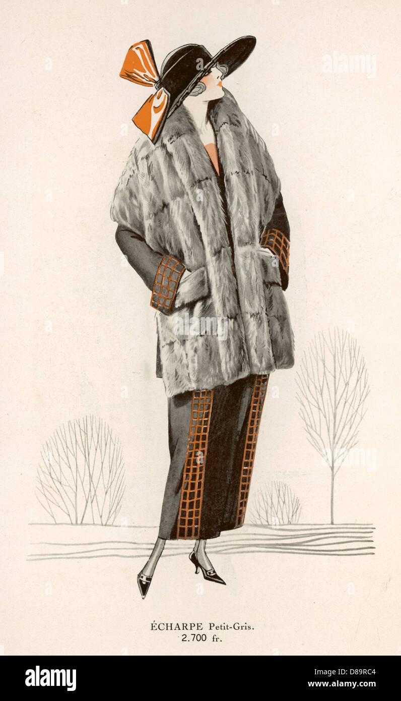 Petit Gris Bufanda 1922 Imagen De Stock