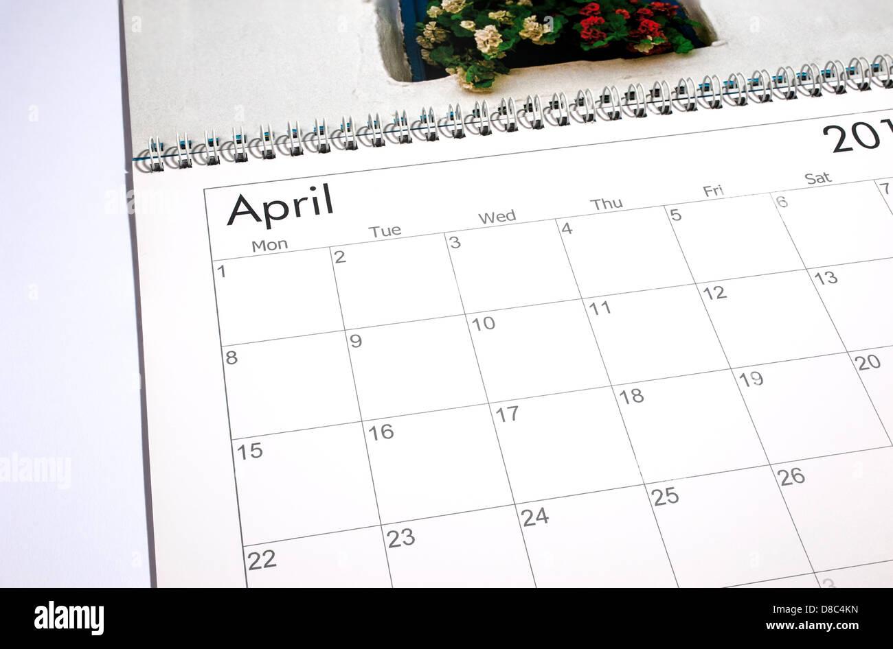 Calendario en blanco página - abril de 2013 Imagen De Stock
