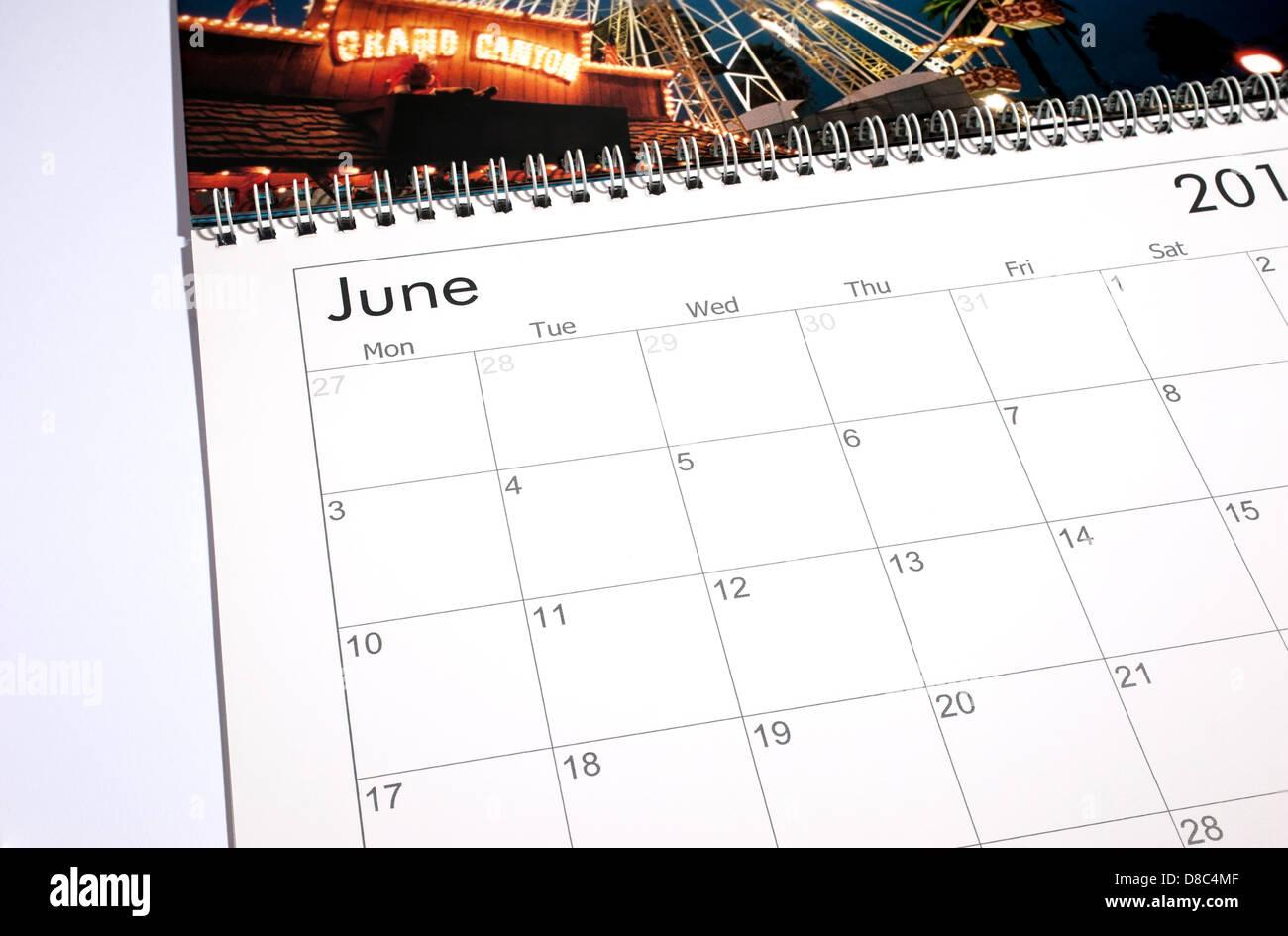 Calendario en blanco página Junio 2013 Imagen De Stock
