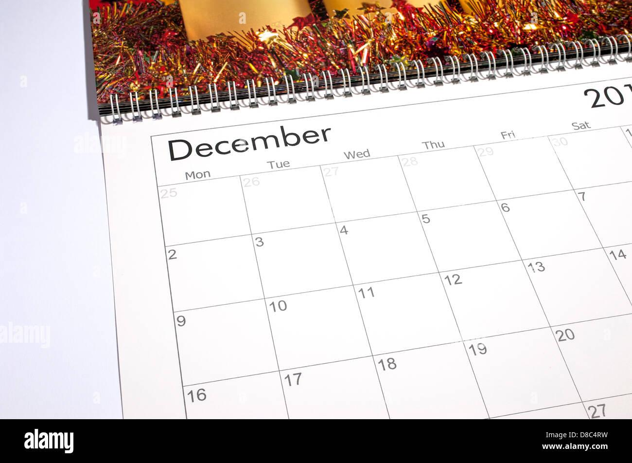 Calendario en blanco página - Diciembre de 2013 Imagen De Stock