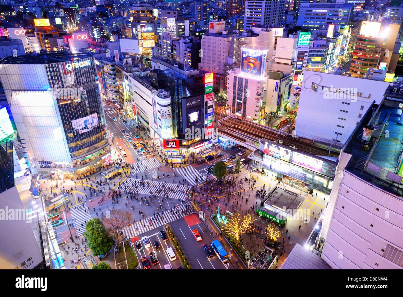 Ciudad de Shibuya, Tokio, Japón. Imagen De Stock