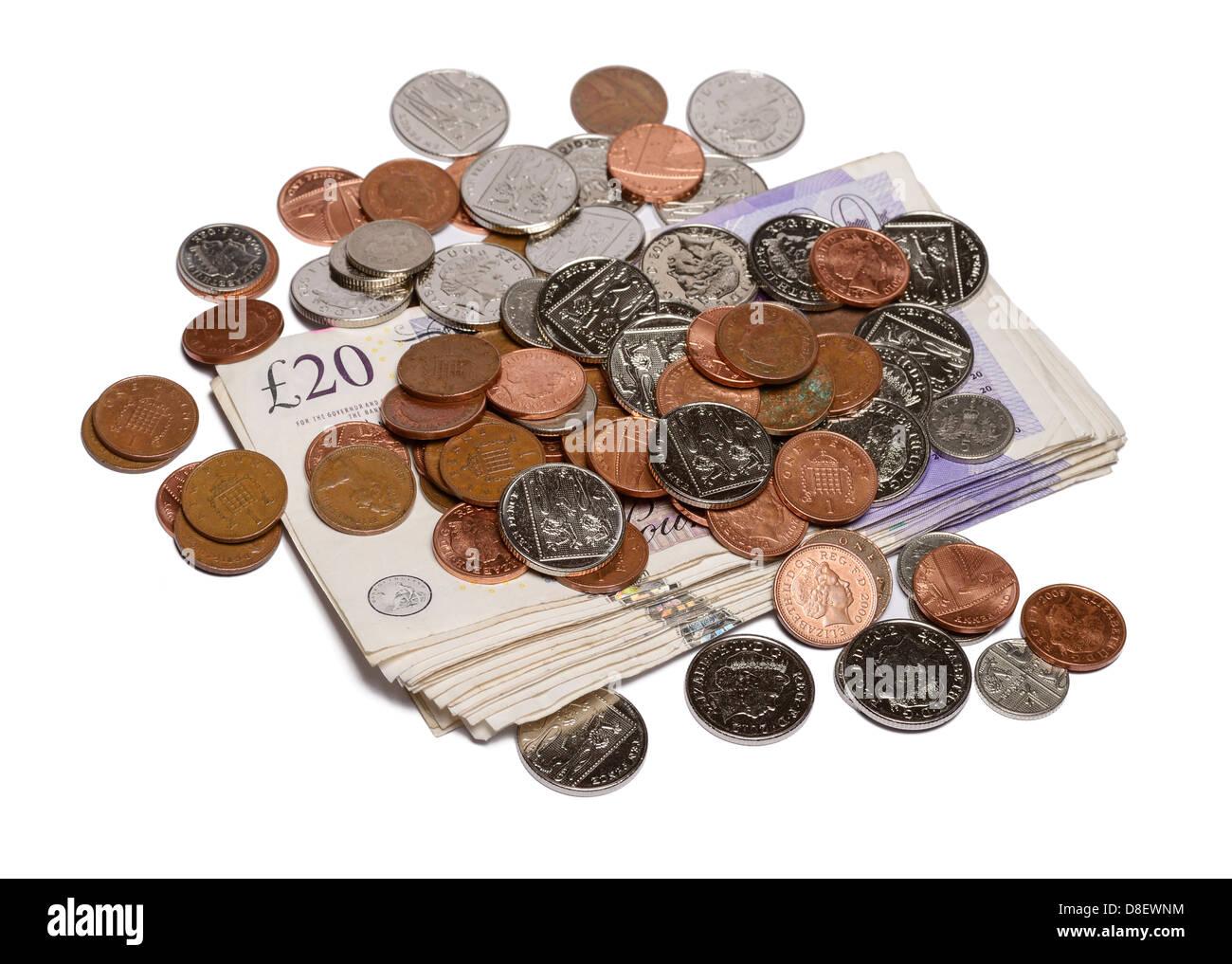 Monedas y dinero en efectivo Imagen De Stock