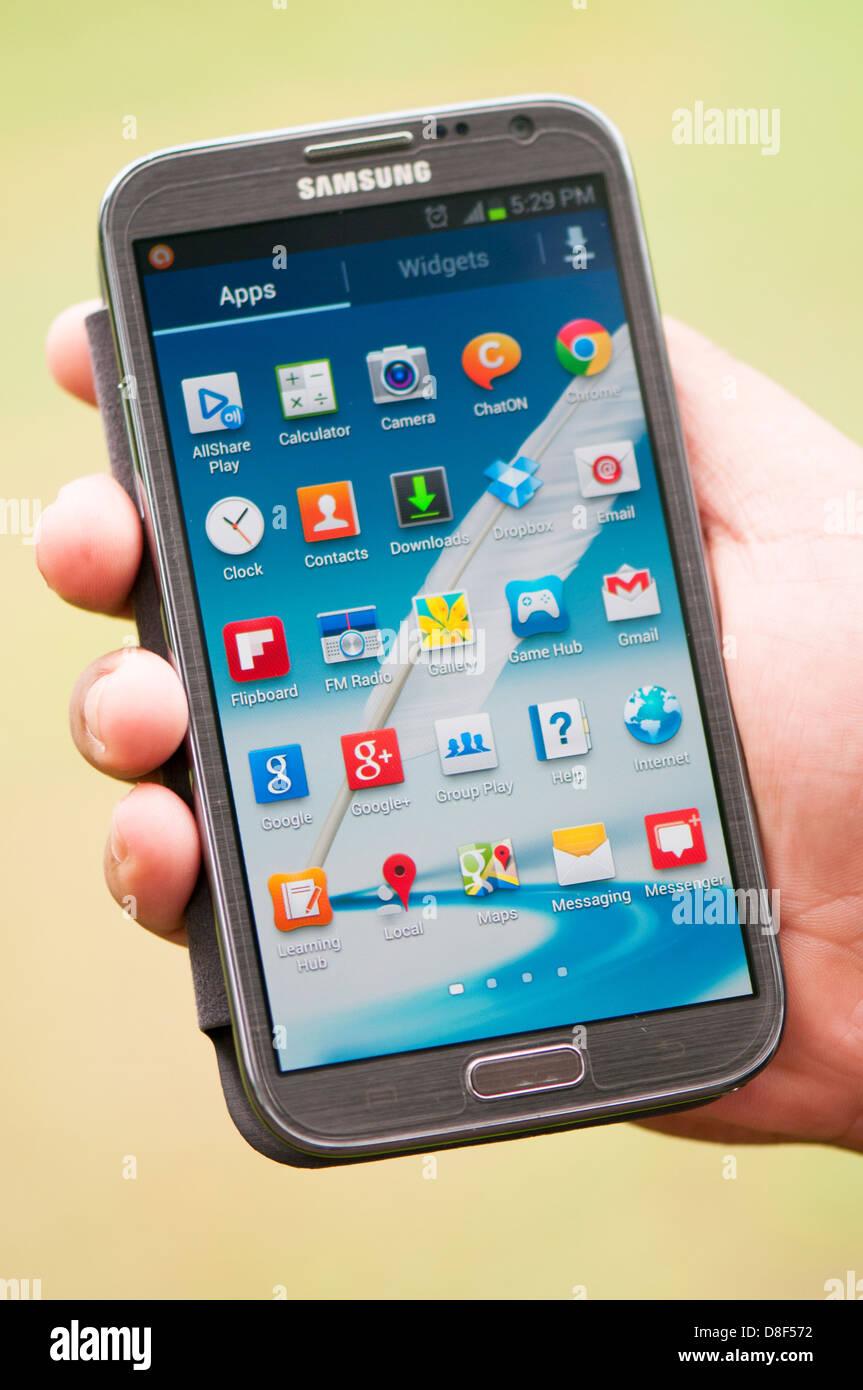 Aplicaciones en smartphones app - pantalla samsung galaxy nota 2 Imagen De Stock