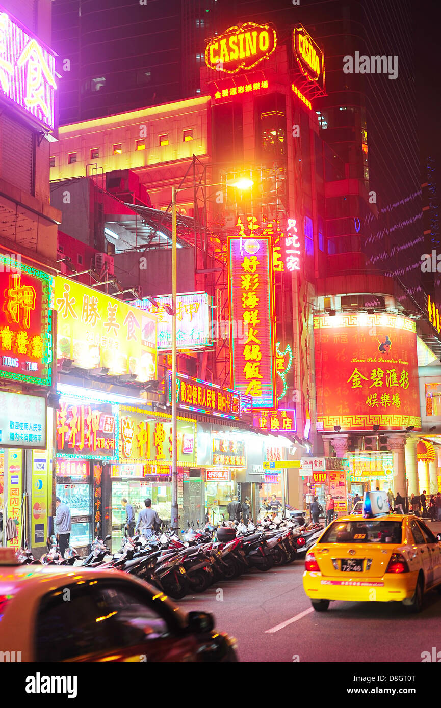 Macao street en la noche. Imagen De Stock