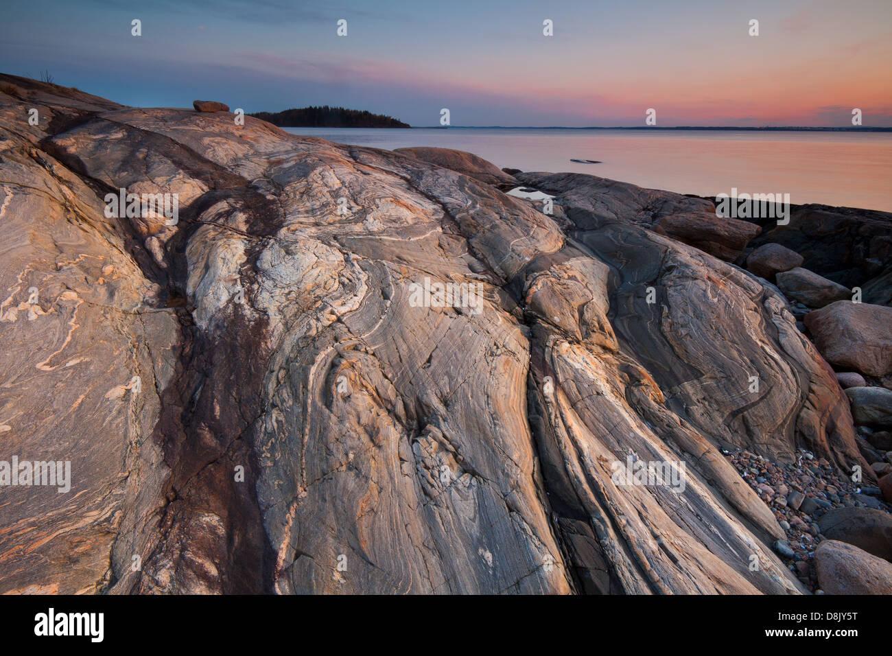 Formaciones de roca en Botnerbaugen en Larkollen, Rygge kommune, Østfold fylke, Noruega. Foto de stock