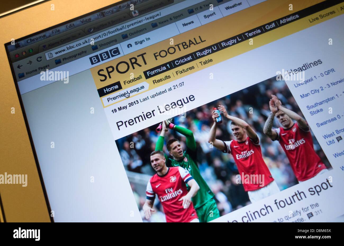 Bbc sport, premier league homepage Imagen De Stock