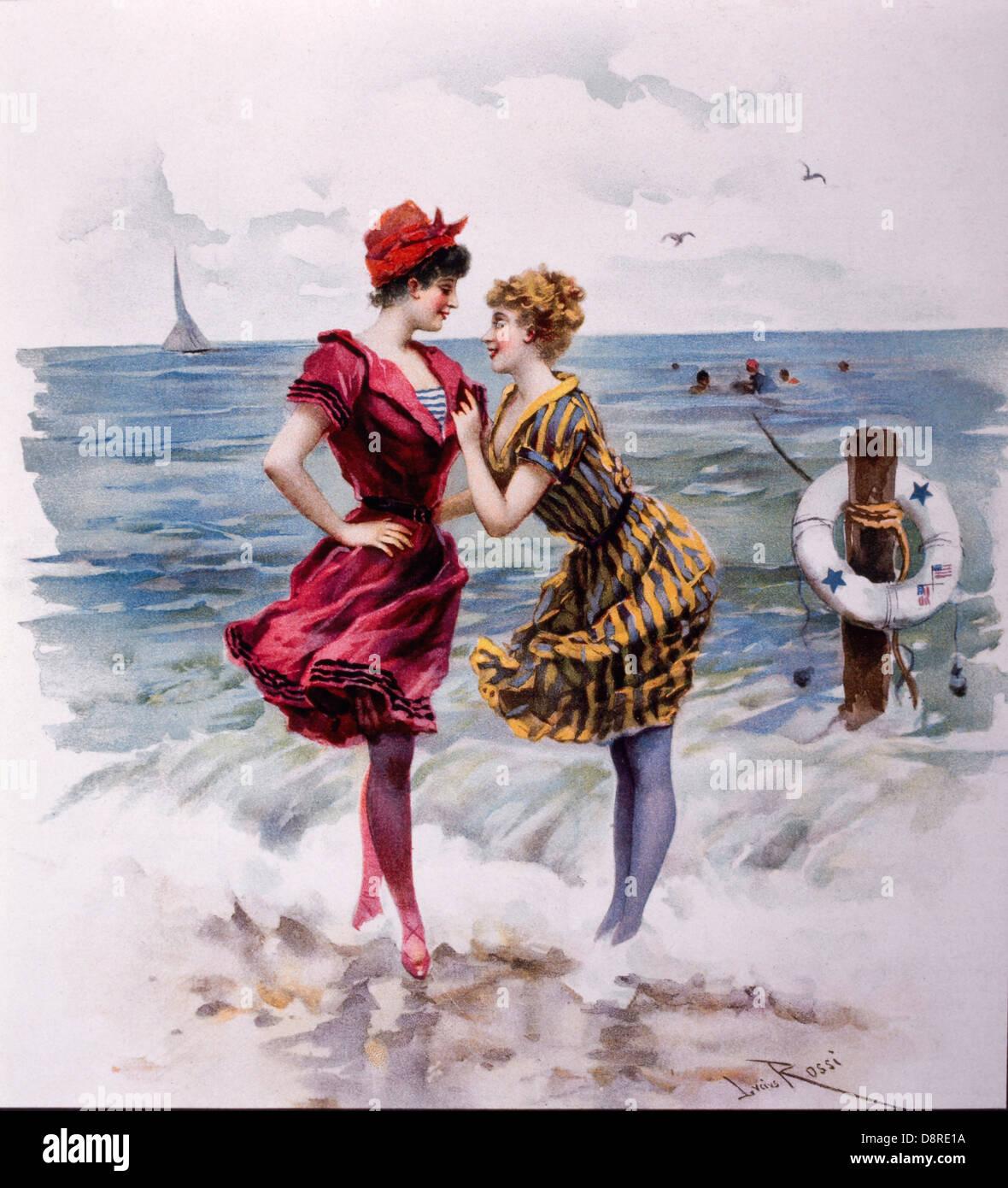 Dos mujeres en trajes de baño en la playa, Ilustración por Giulio Rossi, Verdad Magazine, 1893 Imagen De Stock