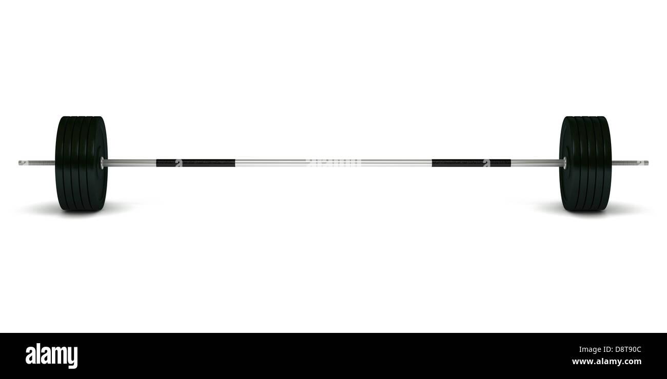 Barbell aislado sobre fondo blanco. Foto de stock