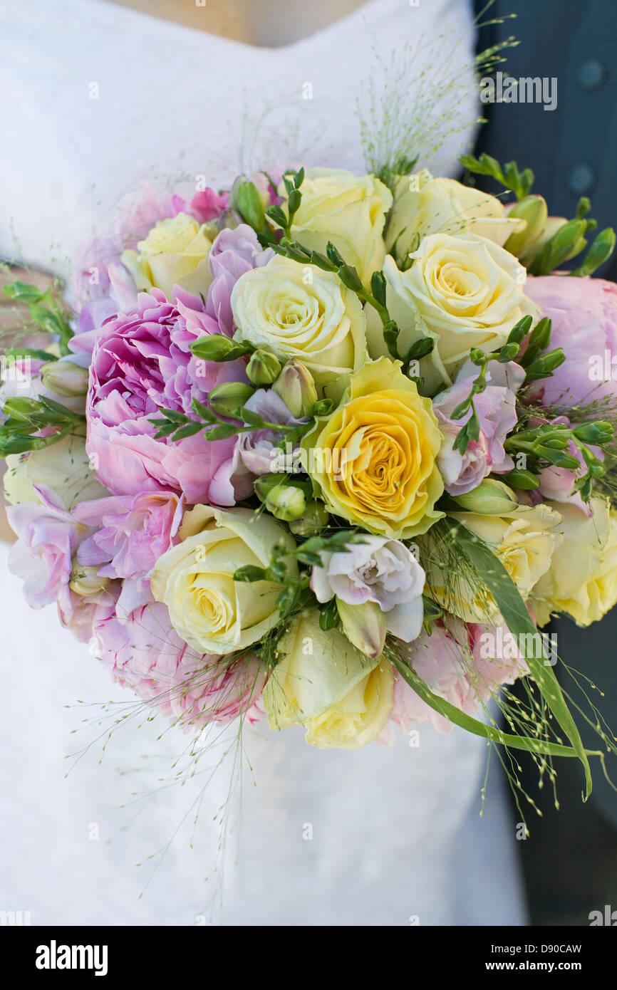 Un ramo de flores para la novia, close-up, Suecia. Foto de stock