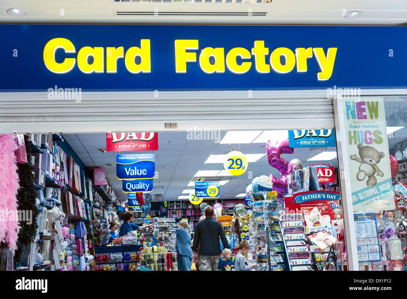 Tarjeta Tienda de fábrica en Weston super Mare, Reino Unido. Imagen De Stock