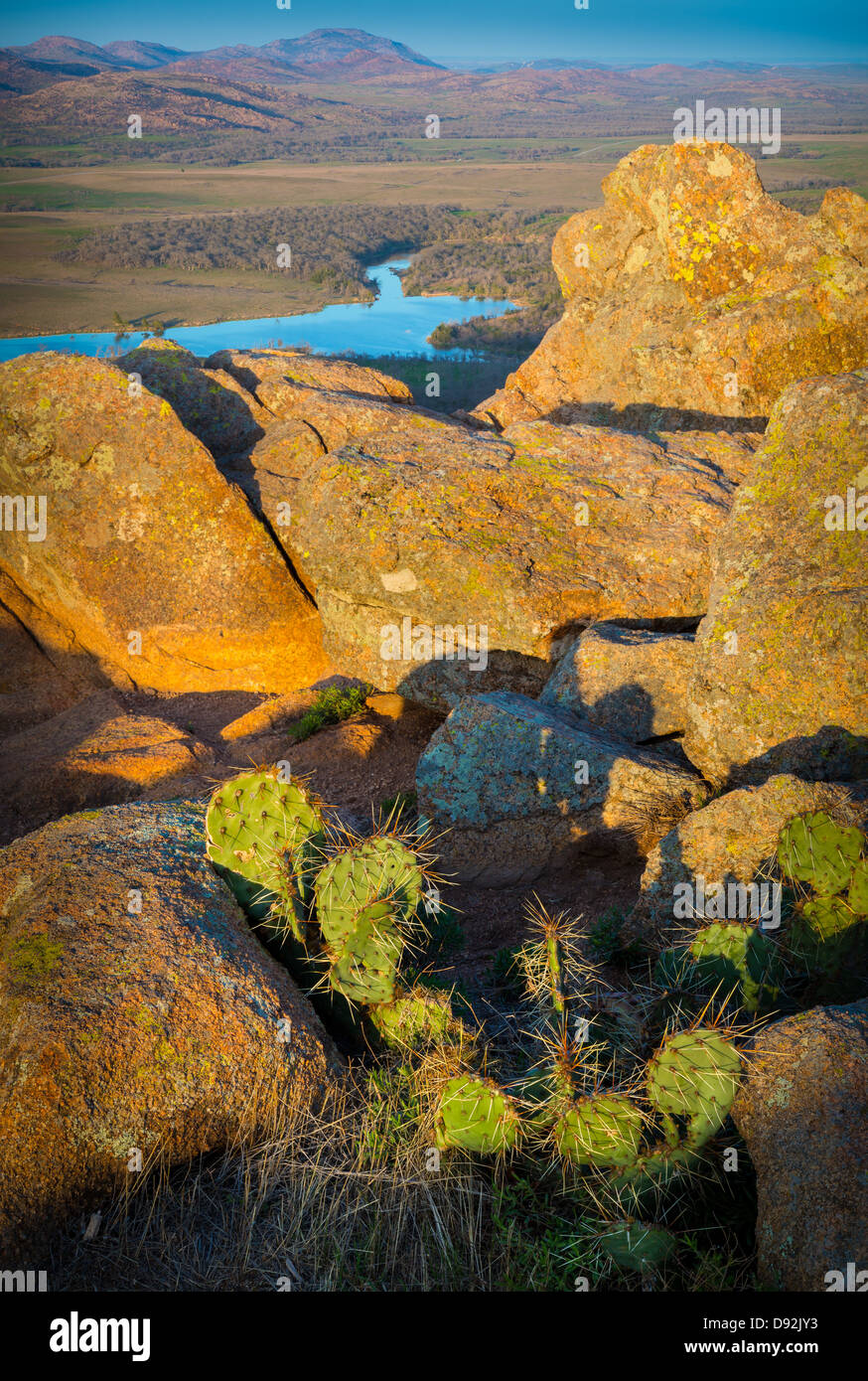 Vista desde el Elk Mountain en Wichita Mountains Wildlife Refuge, Oklahoma Imagen De Stock