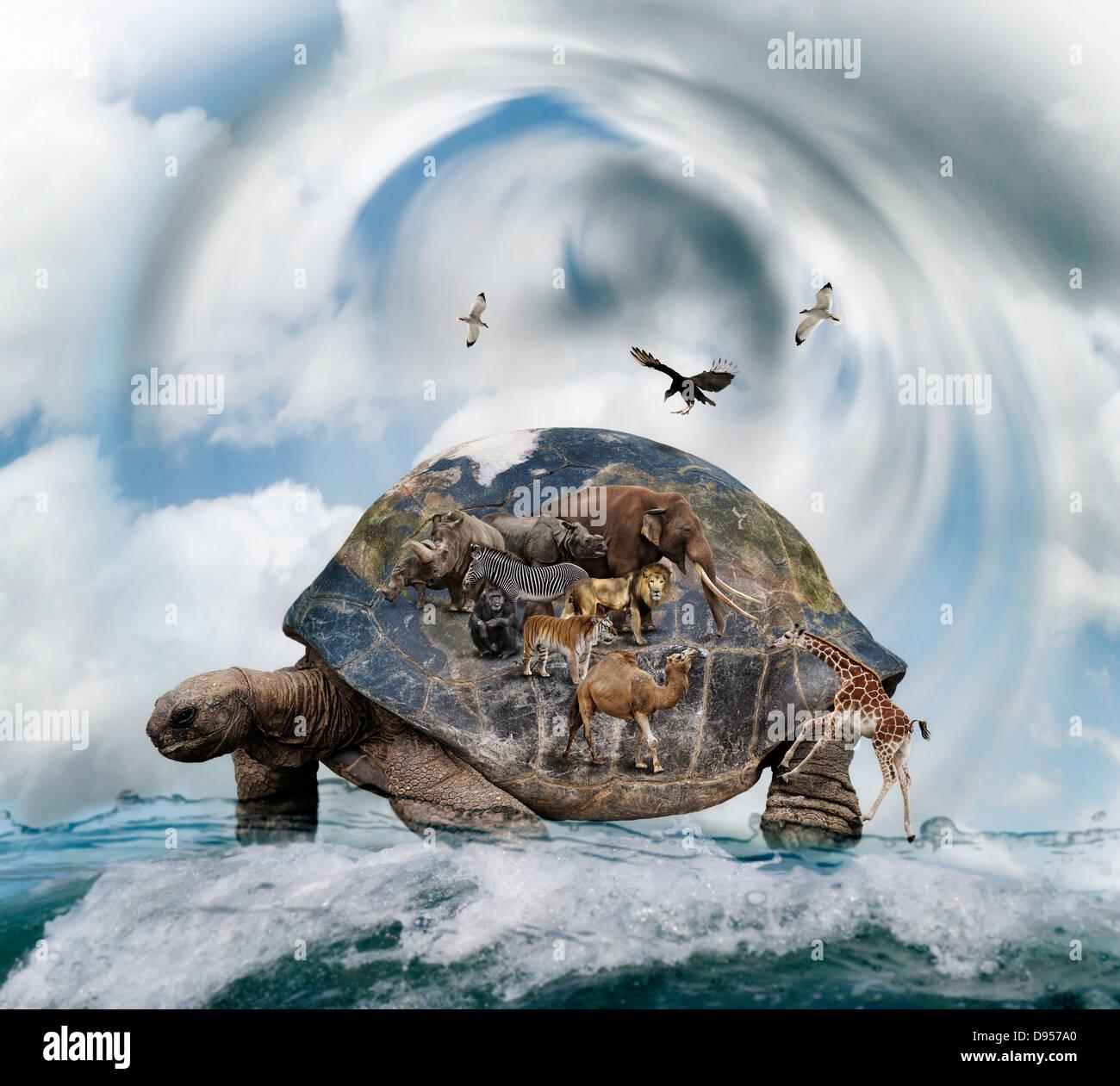 Mundo Concepto de tortugas que lleven animales Imagen De Stock
