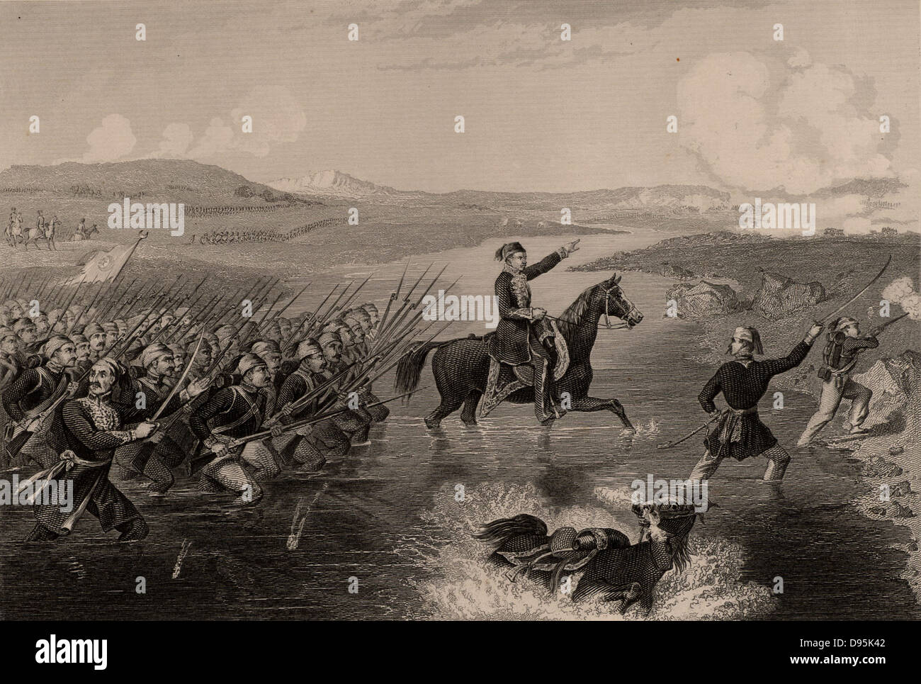 Omar Pasha (nacido Michael Latas, 1806-1871) Croata nacido en general otomano. Comandaba las fuerzas turcas durante la Guerra de Crimea (Russo-Turkish) 1853-1856. Omar Pasha conduce sus tropas turcas a través del río Ingour en un exitoso ataque a los rusos. Grabado. Foto de stock