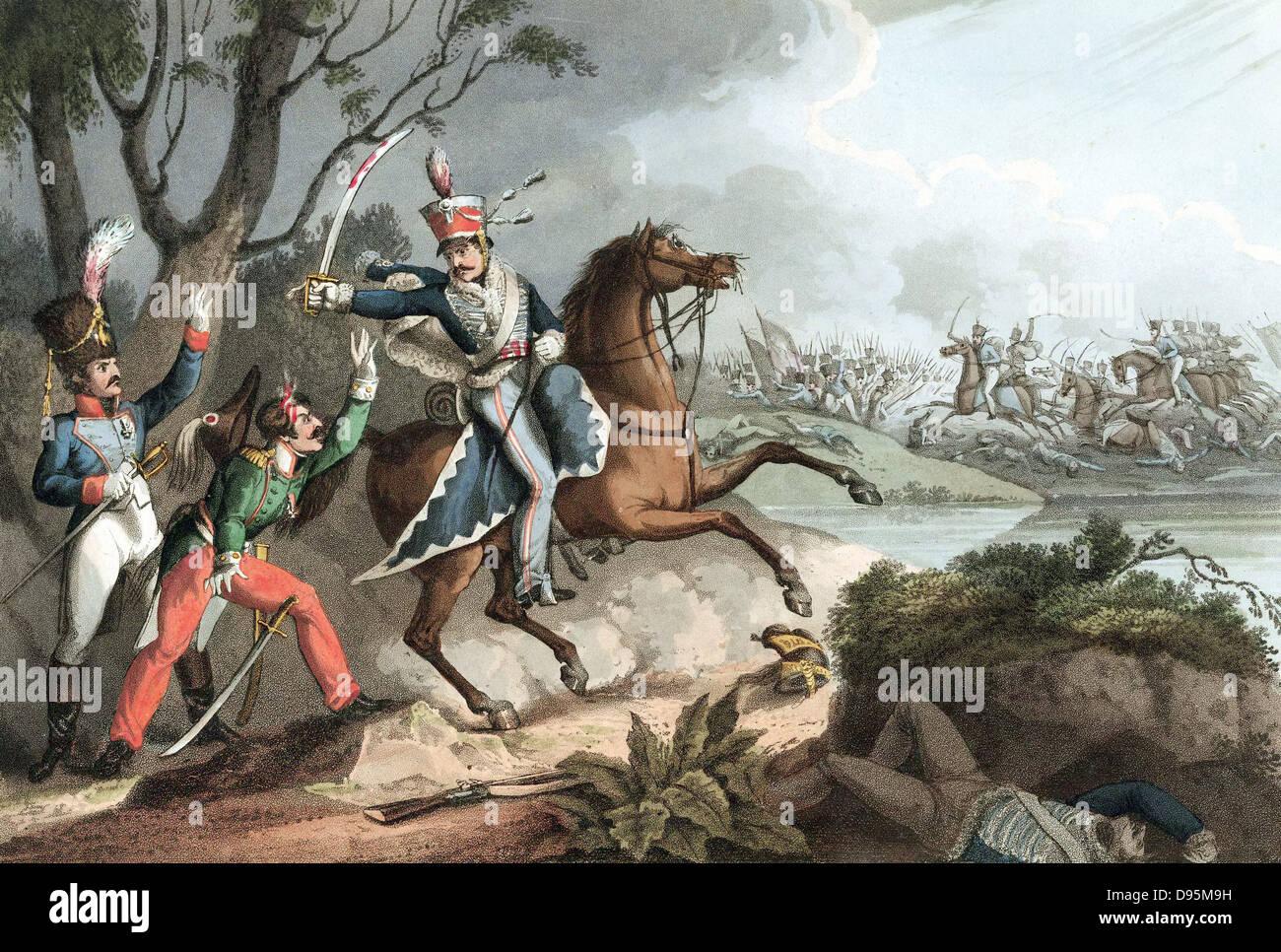Las guerras napoleónicas: la batalla de la Albuera el 16 de mayo de 1811, Beresford derrotas Soult. El sargento de la 18th Hussars (Británico) toma oficiales franceses prisioneros. Aguatinta pintado a mano después de W Heath, 1817. Foto de stock