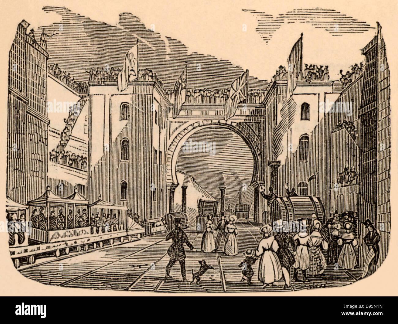 Inauguración del ferrocarril de Liverpool y Manchester, Inglaterra, el 15 de septiembre de 1830. El ingeniero Imagen De Stock