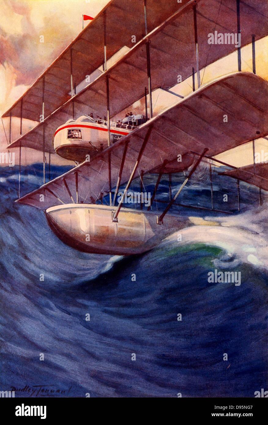 La Air-Liner del Futuro, 1914. La idea de una camisa aéreo transatlántico que volaría a 10.000, pero en una emergencia Foto de stock