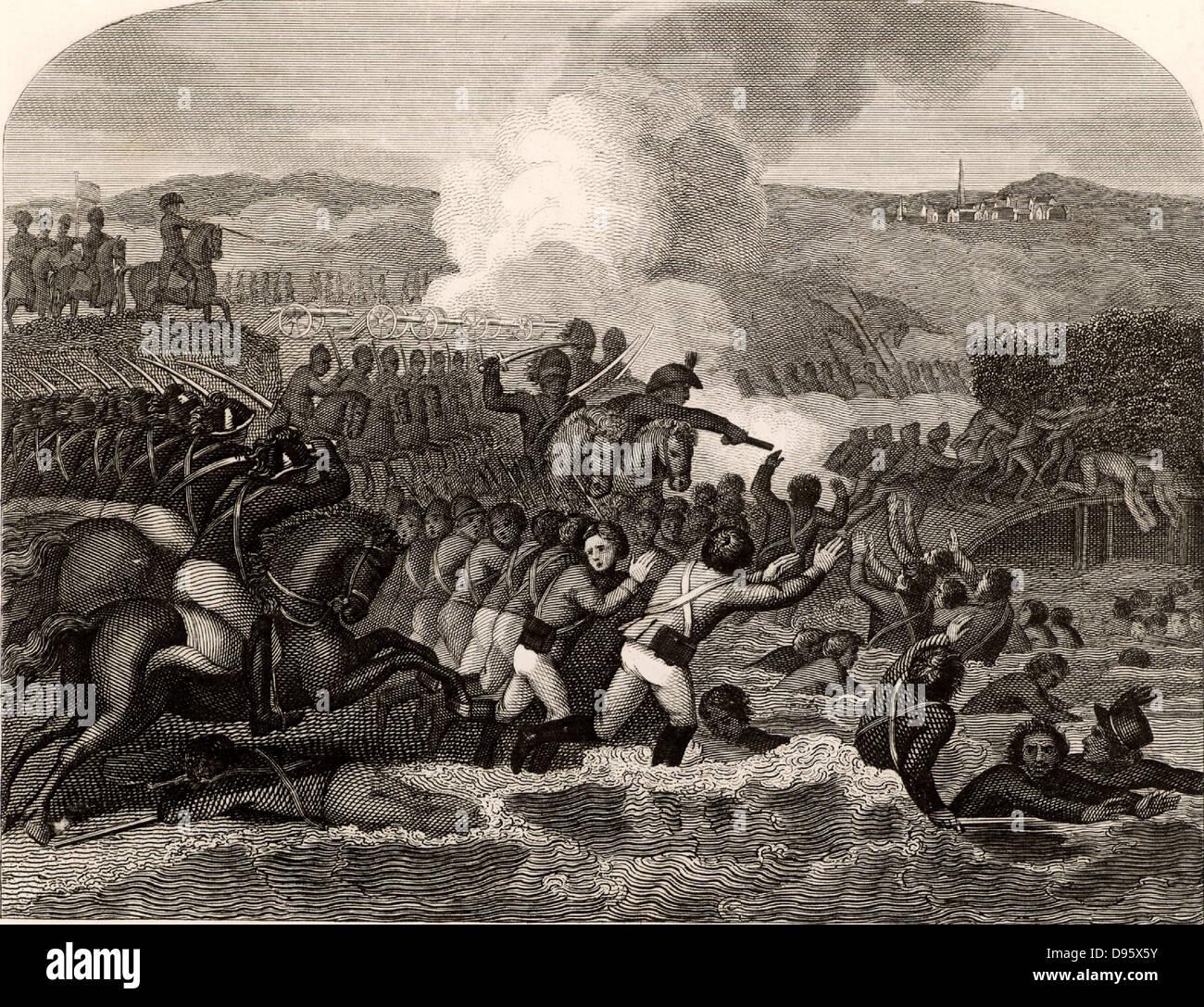 Las guerras napoleónicas. La batalla de Austerlitz, el 2 de diciembre de 1805. La victoria francesa sobre Austria y Rusia condujo al Tratado de Presburg, 26 de diciembre de 1805. Foto de stock