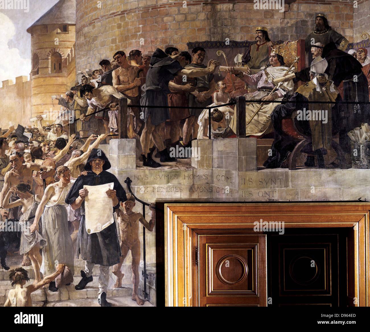 """Luis VI el Gordo (1081-1137), rey de Francia de 1108, concediendo a los ciudadanos de París su primera carta"""". Jean Paul Laurens (1838-1921) francés. Hôtel-Dieu de París. Foto de stock"""
