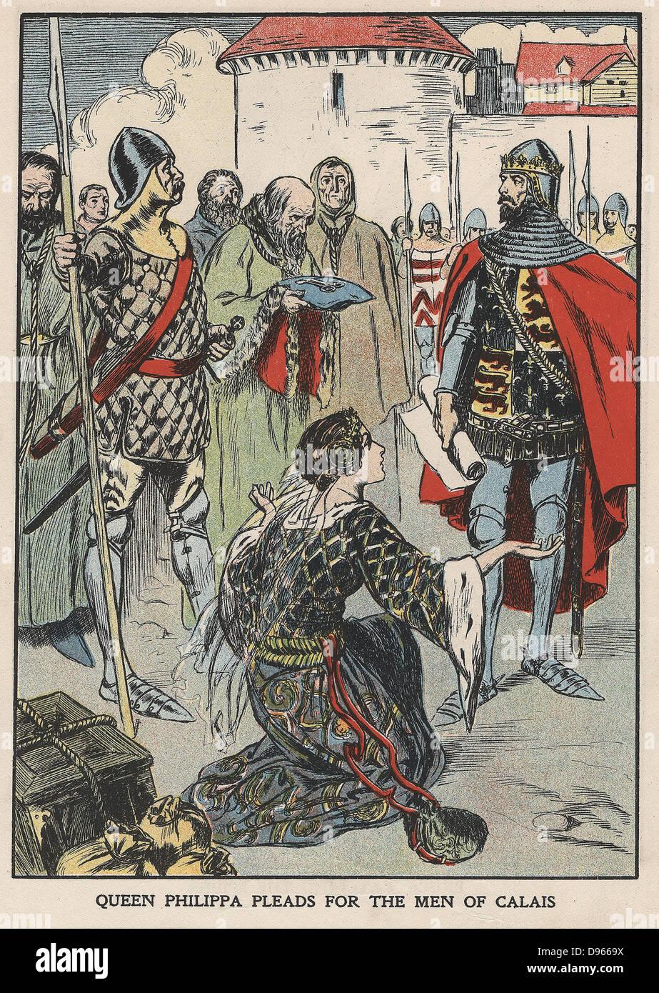 Reina Philippa rogando a su marido, Edward III de Inglaterra, por la vida de los burgueses de Calais tras el asedio Imagen De Stock