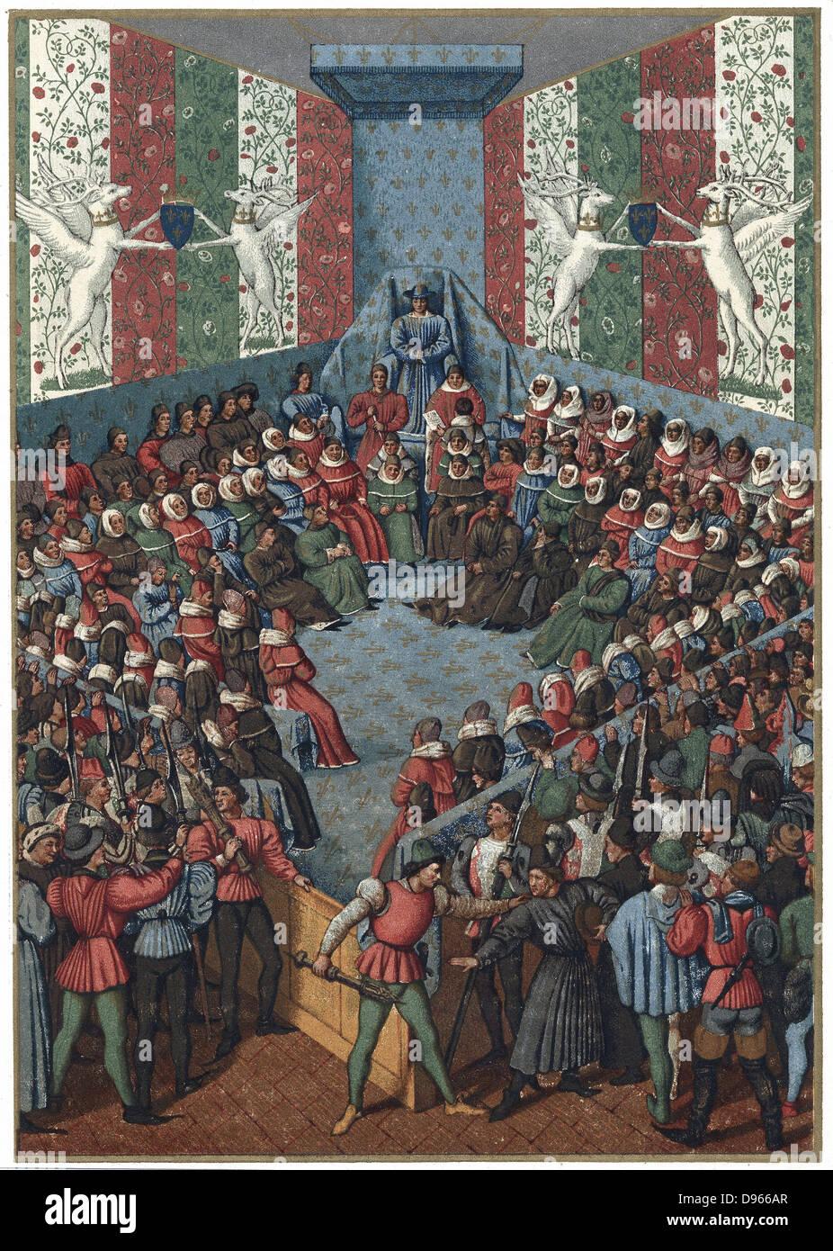 Juicio de Juan II, Duque de Alenzón (d1476) Vendome, de 1458, acusado de conspirar con los ingleses contra Imagen De Stock