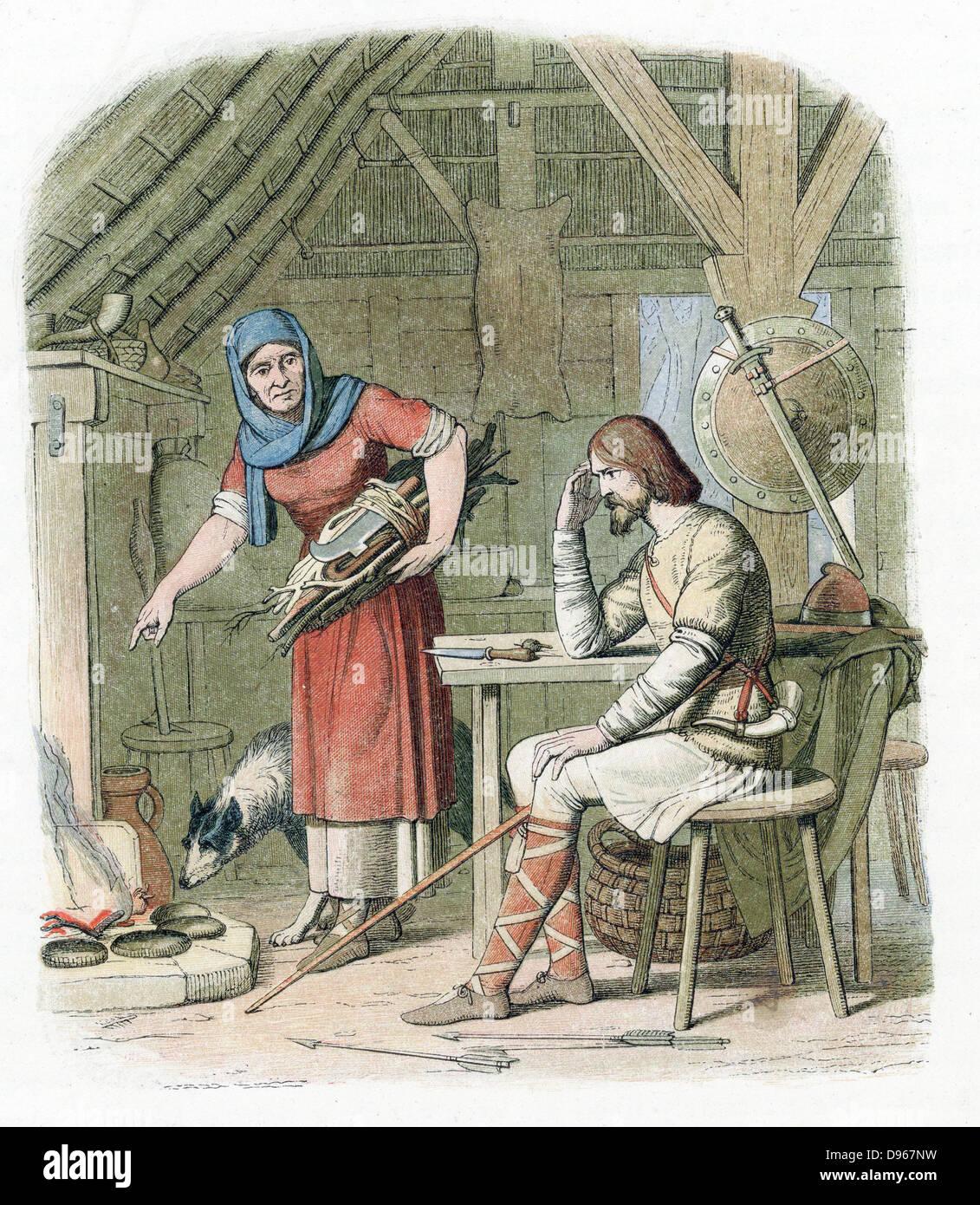 Alfredo el Grande (849-899) rey anglosajón de Wessex desde 871. Alfred, ocultando a los Daneses de vaquero Imagen De Stock