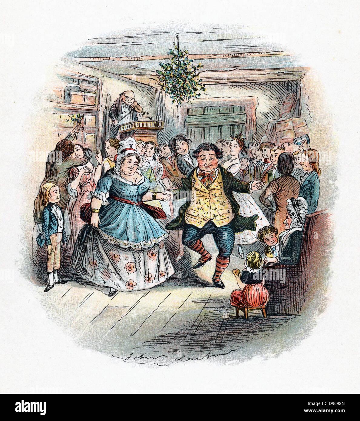 "Señor Fezziwig's Ball, ilustración por John Leech para ""Un Cuento de Navidad"" de Charles Imagen De Stock"