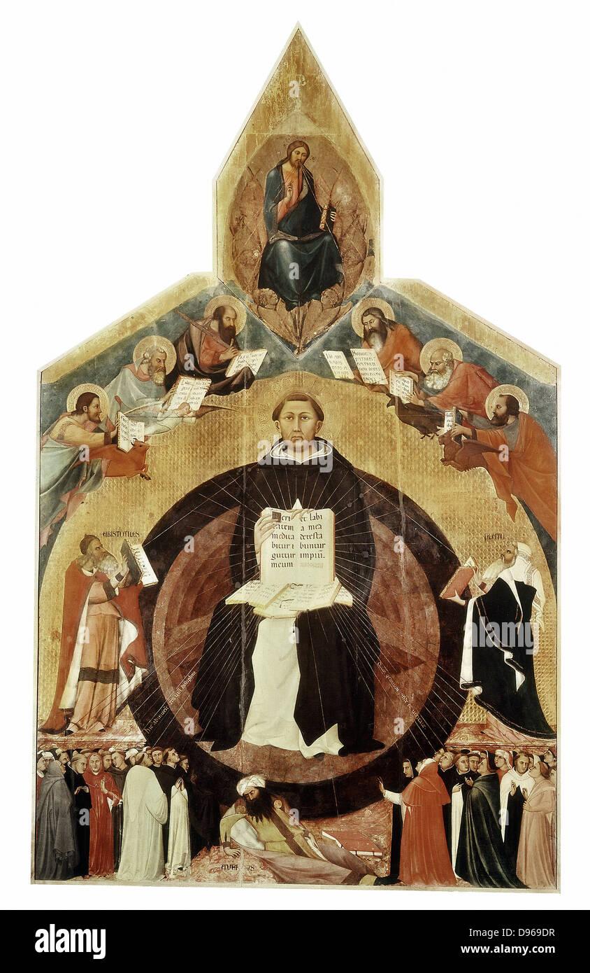 Santo Tomás de Aquino (1225-1274), también conocido como el Doctor Angelicus, miembro de la orden dominicana. Filósofo Foto de stock